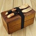 Деревянный пищевой короб  японский  традиционный  натуральный  деревянный  квадратный  двухслойный  для женщин и мужчин  деревянный короб дл...