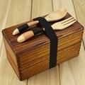 Caja de comida japonesa tradicional de madera Natural de madera cuadrada de doble capa hombres de madera Bento Box almuerzo Picnic Sushi