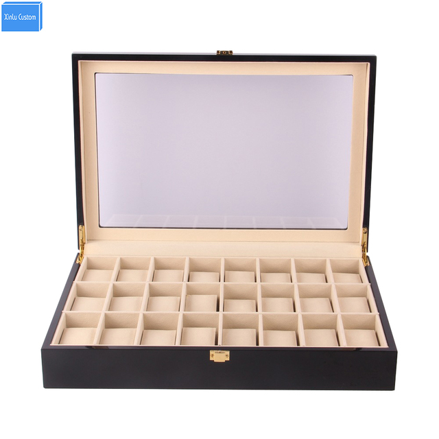 BlackRed Wood Holder 24 Slots Watches Box Organizer Case Storage