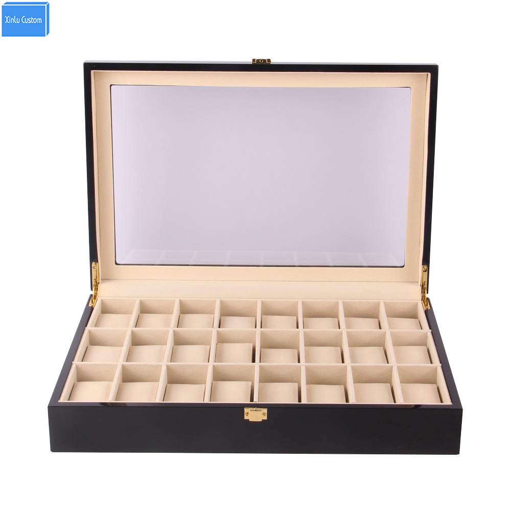 Support en bois noir/rouge 24 fentes montres boîte organisateur boîtier affichage de stockage, Promotion exposition bijoux montres boîtes recueillir