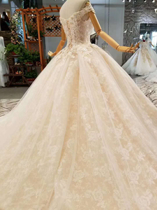 Image 5 - LSS076 fast free shipping wedding gowns off the shoulder sweetheart ball gown flowers wedding dresses with long train real price