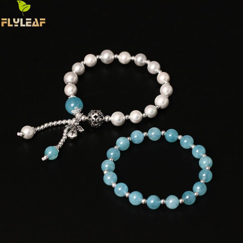 Flyleaf Natural Blue Stone bead Elastic Rope Angel Charm Bracelets & Bangle For Women Fashion 100% 925 Sterling Silver Jewelry цена 2017