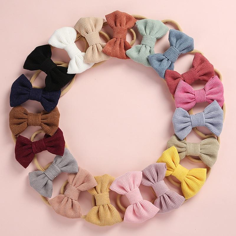 Детская повязка на голову с бантом, Вельветовая повязка на голову для девочек, тонкий нейлоновый ободок для новорожденных, младенцев, детей,...
