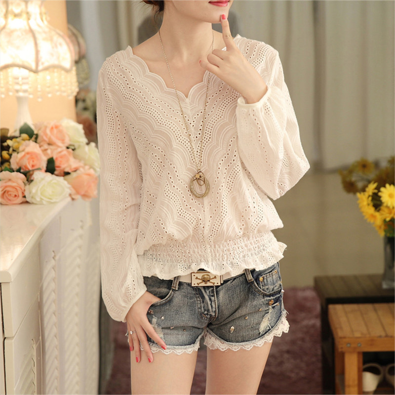 Fashion Women V-Neck Full Sleeve Sexy Hollow Out Lace   Blouse   Casual Solid   Blouses     Shirt   Tops New