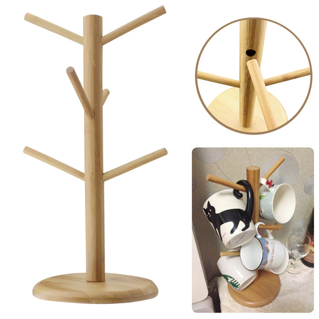 Wooden Coffee Mug Tree Tea Cup Holder Stand Storage Rack With 6 Hooks