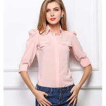 Nice Spring Summer Autumn  WoMenLadies's Fashion Shirts turn-down Collar Button Cardigan Chiffon Blouses Size S-XL