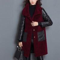 Rabbit Fur Coat M-4xl Plus Size Zima Owczej Wełny Futro kobiety Wysokiej Jakości Ciepłe Kurtki Długi Moda Futerał skórzany Lage Qw781