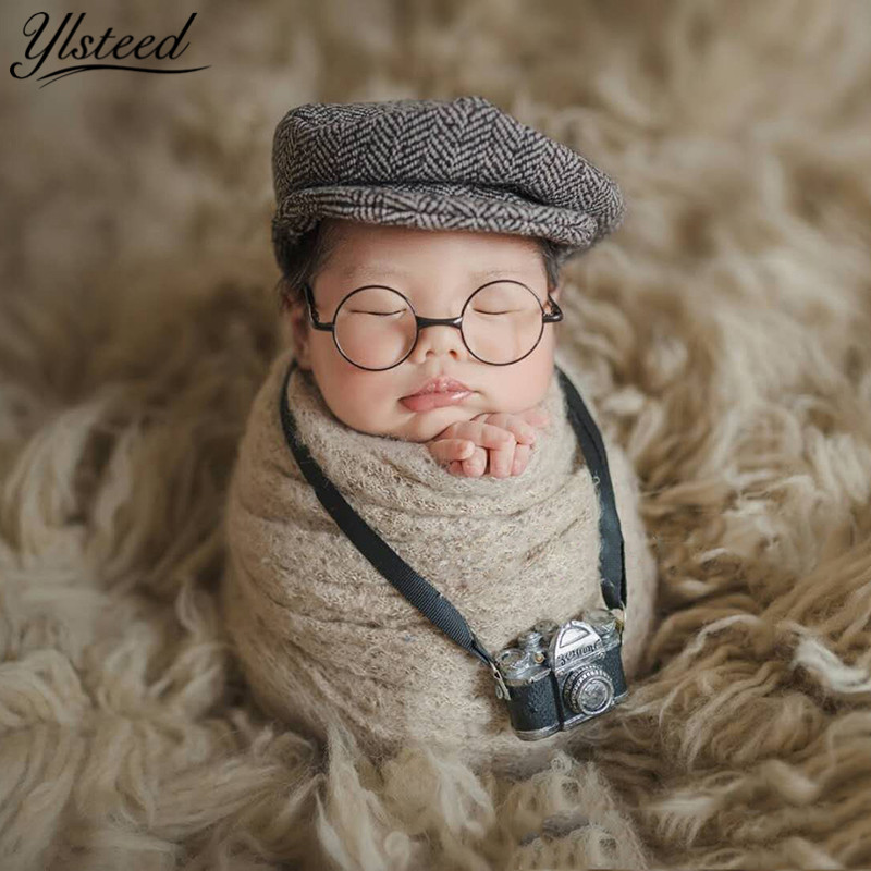 Us 4 99 20 Off Ylsteed Newborn Photography Props Little Gentlemen Shooting Costume Hat Glasses Diy Baby Photo Props Infant Studio Accessories In