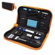 Eu Plug 220 v 60 w Temperatura Ajustável De Solda Elétrica Ferramenta de Reparo Kit + 5 pcs Dicas de Ferro de Solda Portátil pinças de Solda Fio