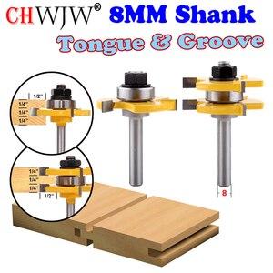 """Image 1 - 2ชิ้น8มิลลิเมตรก้านที่มีคุณภาพสูงลิ้น& Grooveชุมนุมร่วมค้าเราเตอร์บิตตั้ง3/4 """"หุ้นไม้เครื่องมือตัด Chwjw"""