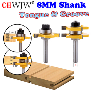 """2 pc 8mm Shank high quality Tongue & Groove Joint Assembly Router Bit Set 3/4"""" Stock Wood Cutting Tool - Chwjw(China)"""