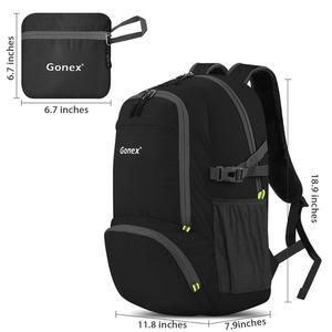 Image 2 - Gonex 30L Ultralight Backpack Foldable Daypack City Bag for School Travel Hiking Outdoor Sport Black 210D Nylon 2019 MEN WOMEN