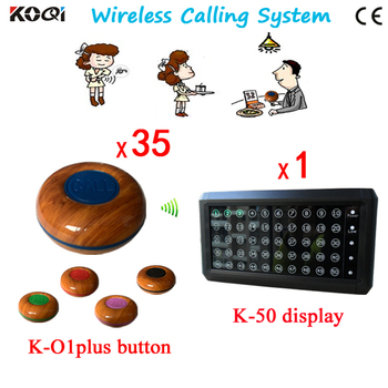 KOQI Wireless Calling Button ,Guest Call System 1 K-50 Show 50 Number At Same Time+35pcs Table Bell K-O1plus-blue