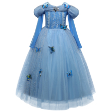 Princess Cinderella Fancy kids Dresses Ball Party Wear Girl Beauty Halloween Christmas Costume Long sleeve blue girls clothes