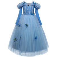 Princess Cinderella Fancy Kids Dresses Ball Party Wear Girl Beauty Halloween Christmas Costume Long Sleeve Blue