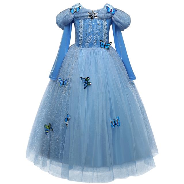 Princesa Cenicienta Fantasía niños Vestidos de Bola de la Muchacha Del Desgaste del Partido Belleza de Halloween Traje de la Navidad de manga Larga azul ropa de las muchachas