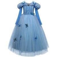 Princess Cinderella Fancy Kids Dresses Ball Party Wear Girl Beauty Halloween Christmas Costume Long Sleeve Blue