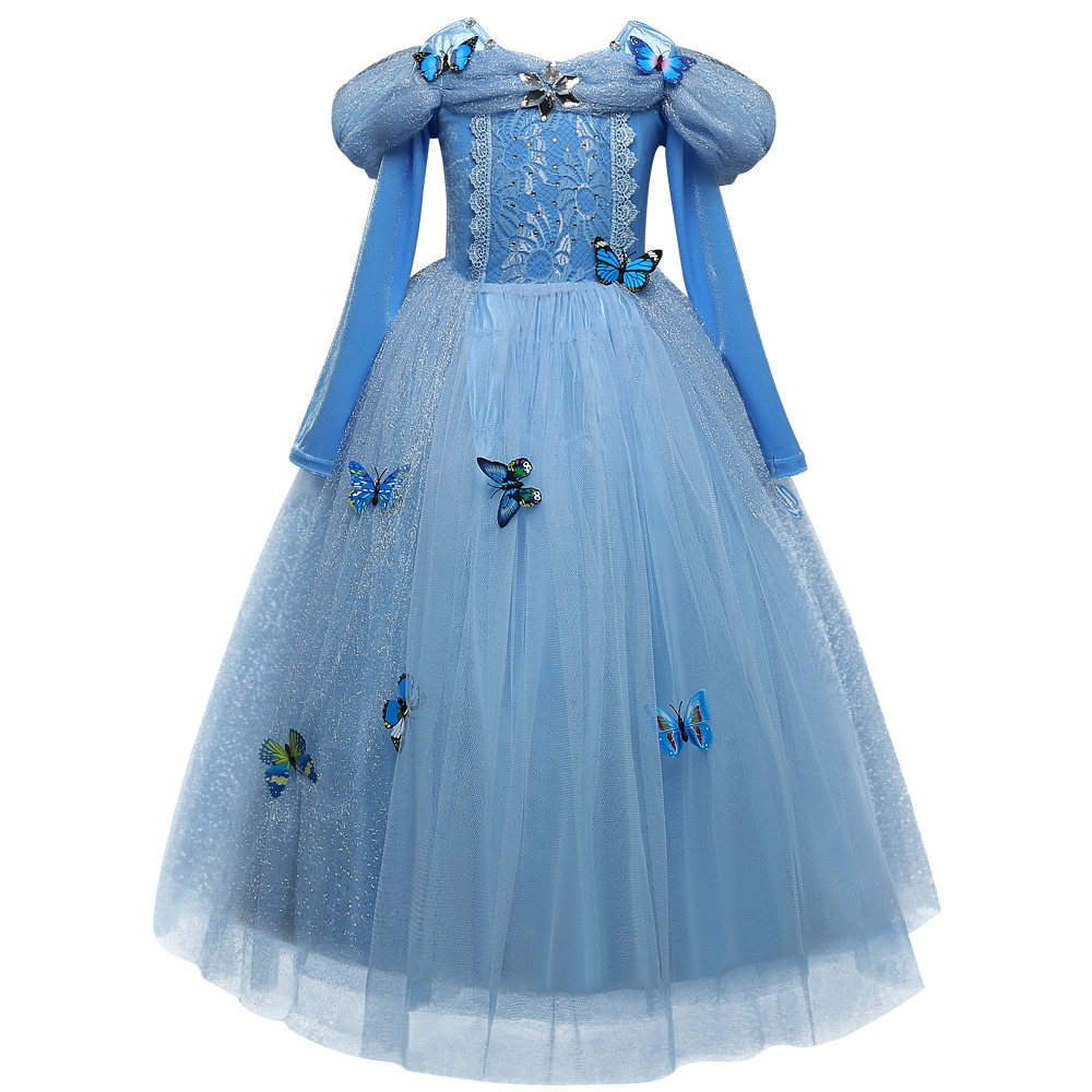 Princess Cinderella Fancy kids Dresses Ball Party Wear Girl Beauty Halloween Christmas Costume Long sleeve blue girls clothes new girl blue cinderella dress summer fancy halloween party show princess cinderella dress for cosplay party costume clothes