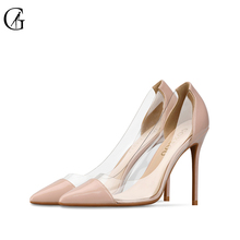 Купить с кэшбэком GOXEOU  Women Pumps 2019 Transparent 10cm High Heels Sexy Pointed Toe Slip-on Wedding Party Shoes For Lady plus Size 32-46