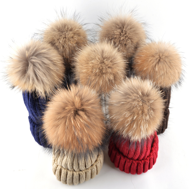 High quality winter hats for women and men real raccoon fur beanie knitting wool casual warm ear protectors gorros cap 7 colors the new children s cubs hat qiu dong with cartoon animals knitting wool cap and pile