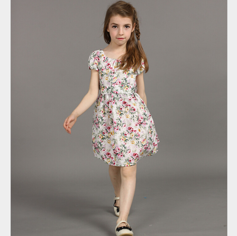 Korean Patchwork Floral Dresses For Teen Girls Attractive
