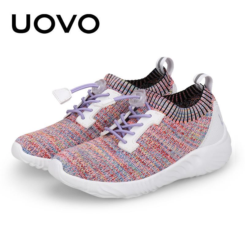 UOVO Fly Knit Kids Shoes Spring Shoes for Boys & Girls Breathable Children Sneakers Fashion Sport girls Shoes Eur size 27#-37# kids shoes girls boys pu leather lace up high children sneakers girl baby shoes sport autumn winter children shoes