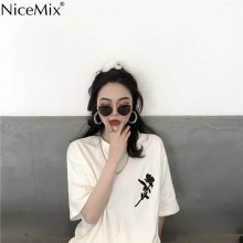 цены NiceMix 2019 Summer Harajuku T Shirt Women Tshirt Embroidered Rose Tops Female Plus Size Casual Short Sleeve T-shirt Loose