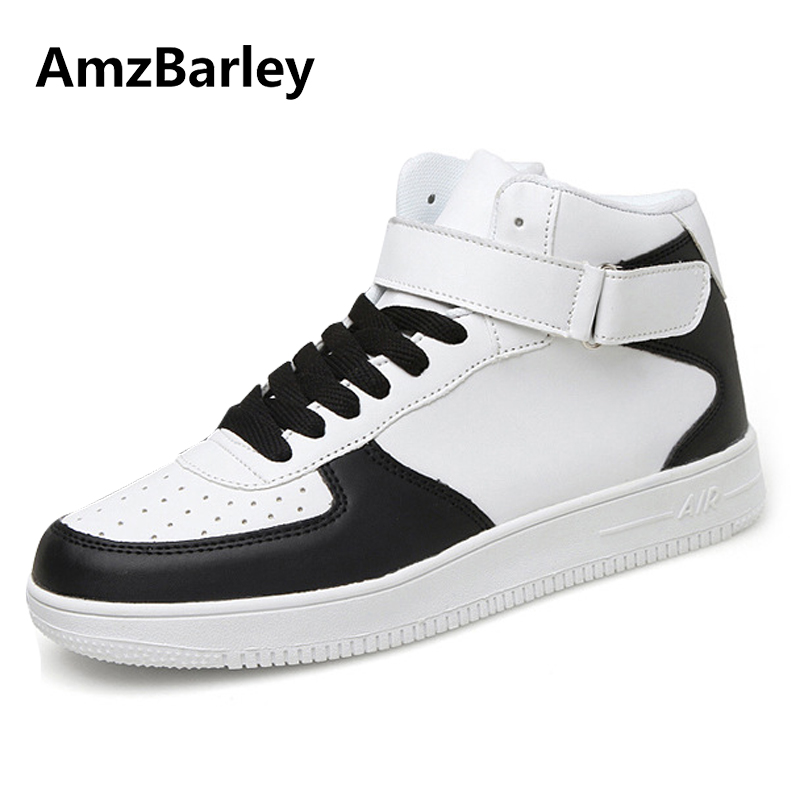 AmzBarley Men Shoes Footwear High Top Hook Loop Casual PU Leather Walking Trainers Baskets Adult Plian Zapatillas 2018 Fashion new spring men shoes trainers leather fashion casual high top walking lace up ankle boots for men red zapatillas hombre