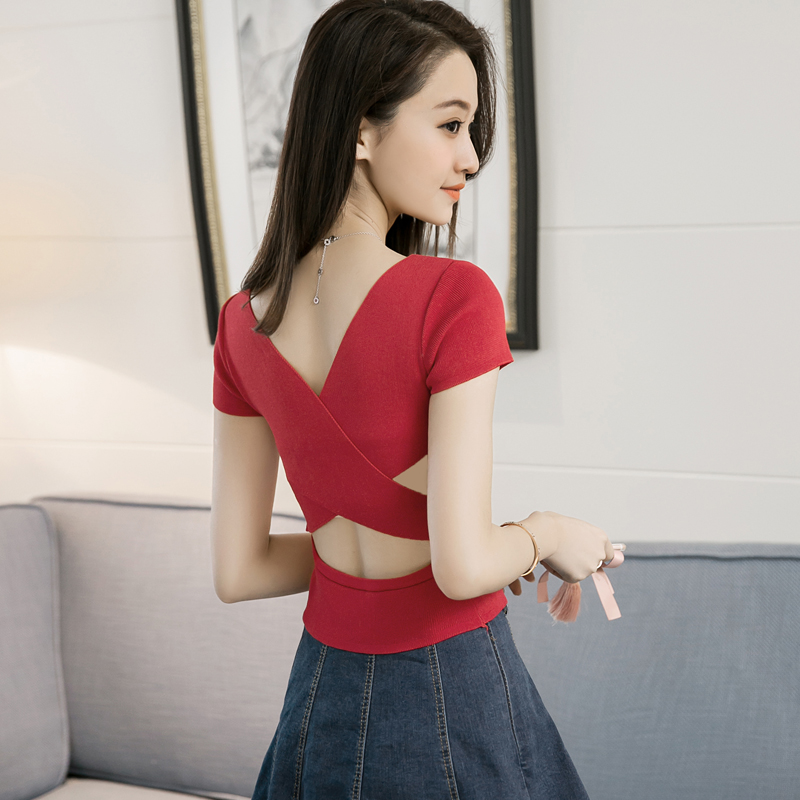 Summer Girls V-neck Solid Backless Cropped Short Sleeve Sweaters Pullovers Ladies Hollow-out Sexy Thin Crop Tops Tees JH8822