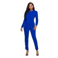 2 Piece Set Women Autumn Winter Clothing 2018 Long Sleeve Ruffles Pants Stretch Bodycon Plus Size Rompers Jumpsuit xl xxl 3xl 30