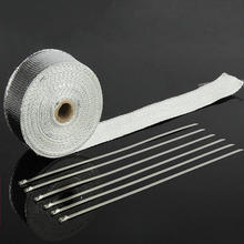 5m Aluminum Foil Exhaust Pipe Tape Motorcycle Muffler Pipe Header Heat Resistant Wrap Exhaust Wrap With Stainless Steel Ties aluminum elevator aluminum doors and windows stainless steel foil pe protective film tape 150 meter