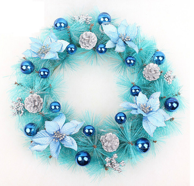 about 40cm christmas wreath garlan wall door sky blue hanging christmas decorations with blue christmas balls - Blue Christmas Balls