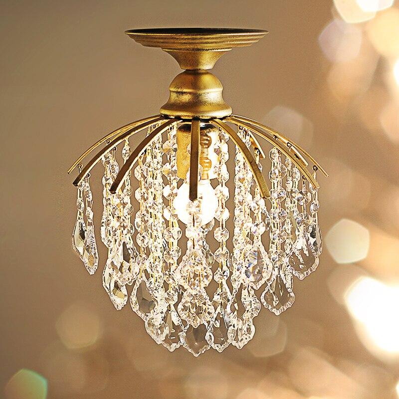 Gold 1 pcs Kitchen light Cafe room dining room Mini Pendant crystal lamp Led Mediterranean Sea E27 Iron Clear Crystal  lighting