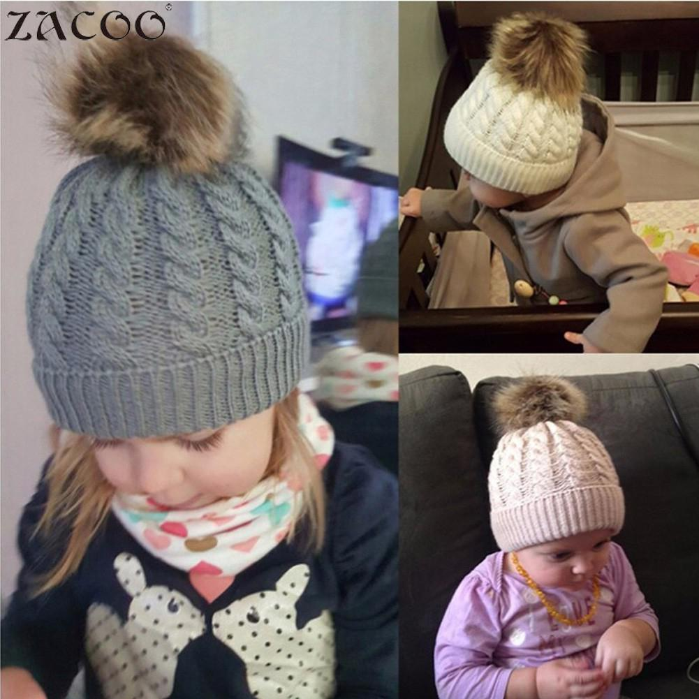 Orderly Zacoo Baby Winter Warm Knit Crochet Caps Hair Ball Beanie Hat For Winter Autumn San0 To Win Warm Praise From Customers