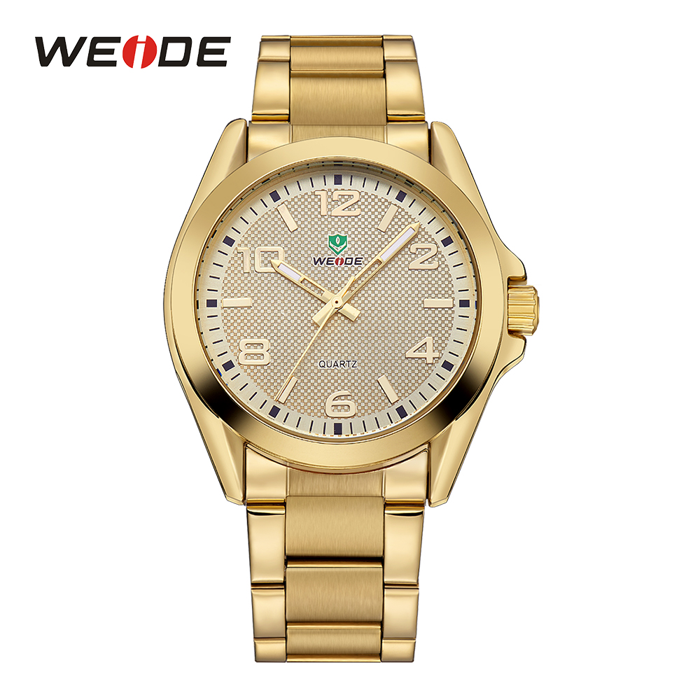 WEIDE Golden Watch Stainless Steel Band Mens Sports Quartz Watches Japan Movement Analog Fold Over Clasp Hardlex Wrist Watches weide outdoor wrist watch analog digital led quartz dual movement stainless steel band waterproof sports running watches for men
