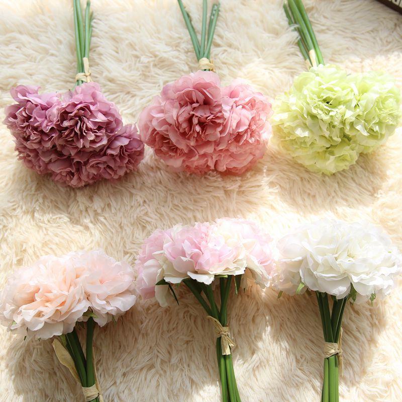 5 Heads/set Silk Artificial Pony Flowers Hydrangeas Bridesmaid ...