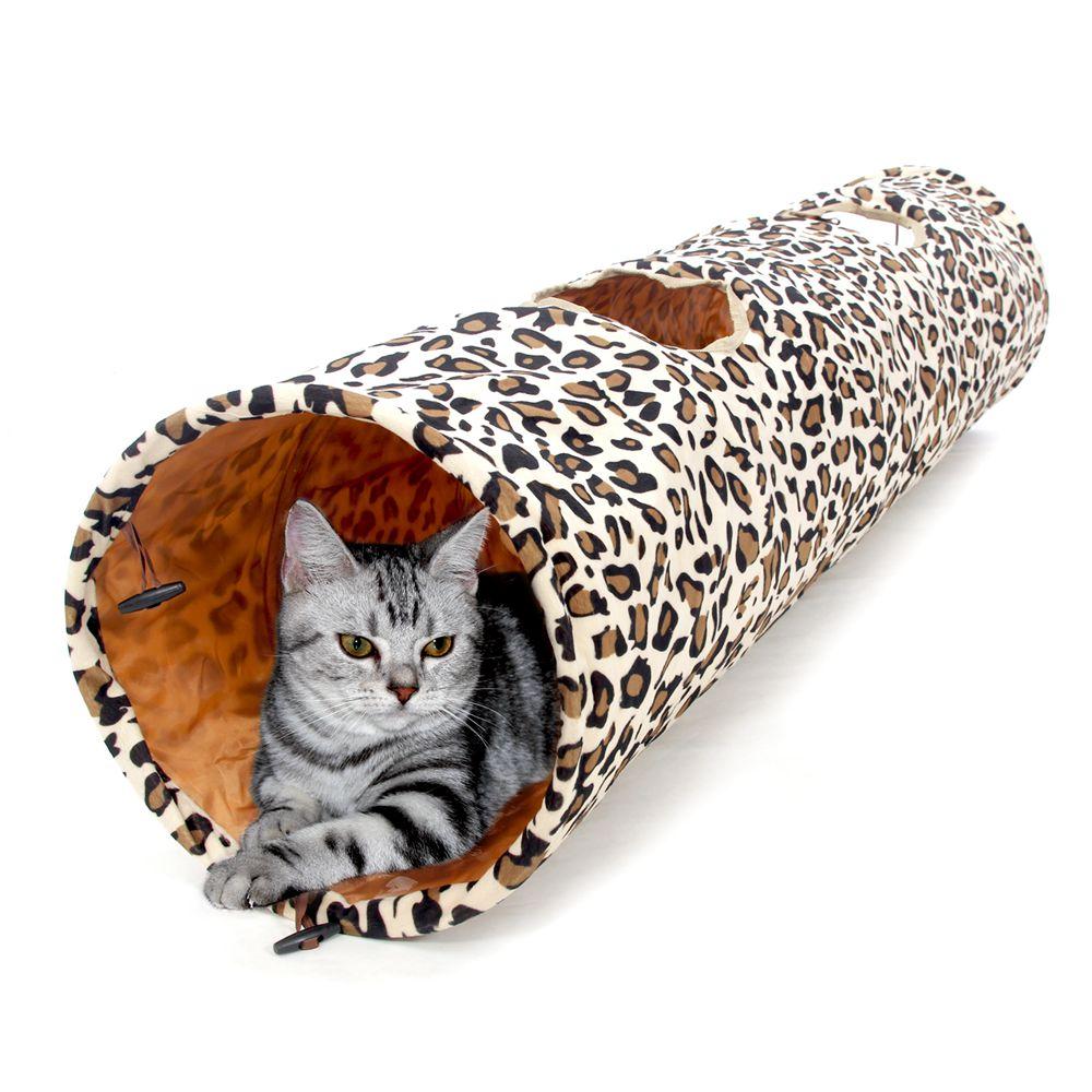 US/AU/England/France/Germany Shipping <font><b>Large</b></font> 2 Holes Leopard <font><b>Tunnel</b></font> Cat Rabbit Playing Toys Product Foldable Kitten <font><b>Fun</b></font> To Play