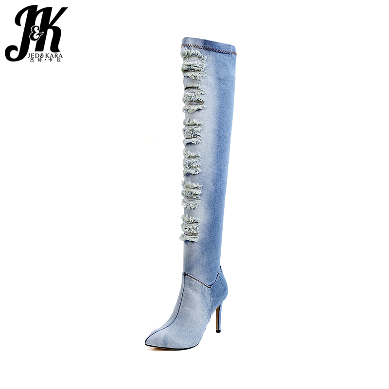 JK High Heels Denim Over The Knee Women Boots Zipper Thin Heels Pointed Toe Footwear Spring Fashion Sexy Holed Ladies Shoes sexy women denim thigh high peep toe boots thin high heels zipper ladies over the knee long cowboy botas