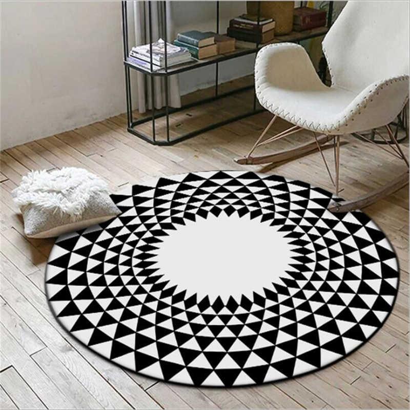 Нордический стиль, круглые ковры для гостиной, спальни, коврики для чистки ковров, для дома, напольный коврик, диван, большой простой черный дизайн, коврики