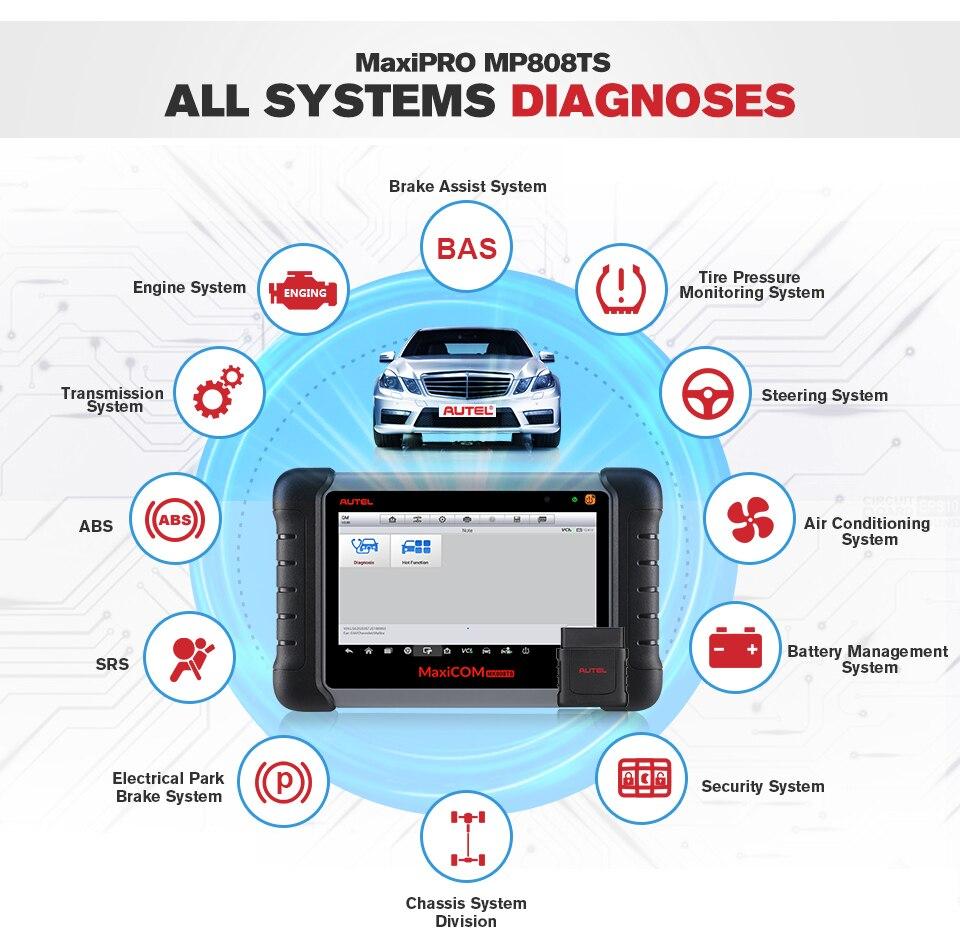 Image 2 - Autel MaxiCheck MK808TS MX808TS OBD2 Diagnostic Tool ODB2 scanner automotive code reader TPMS programmer IMMO DPF PK MK808 TS608