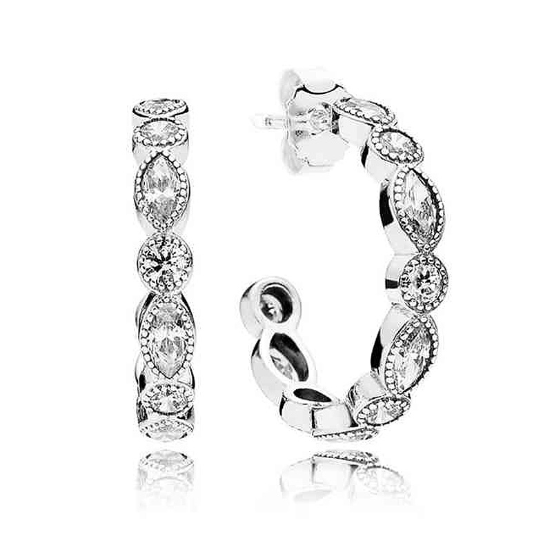 Authentic 925 Sterling Silver Earring Alluring Brilliant Marquise Studs Earrings For Women Wedding Gift Fine Pandora Jewelry