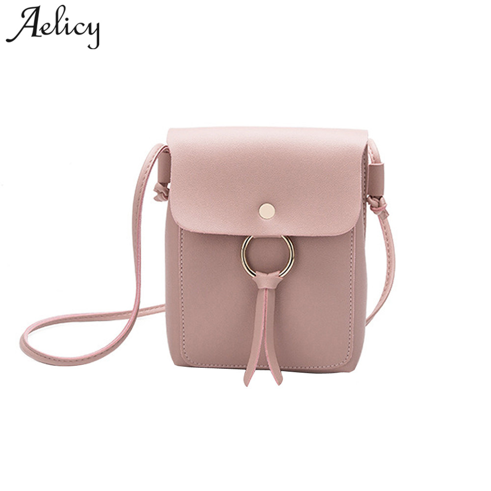 Aelicy PU Leather Fashion Women Crossbody Bag Casual Mini Bag Female Bag Leather 2018 New Design Solid Crossbody Bags For Women