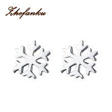 Fashion Jewelery Accessories Silver color Snowflake Shaped 1 Pair Woman Ear Studs EAR-0619