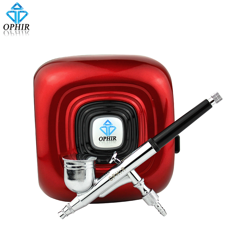 OPHIR Portable 0.3mm Airbrush Mini Air Compressor Kit for Nail Ar Makeup Professional Nail Tools _AC123R+AC004 ophir portable airbrush kit with mini air compressor for airbrush cosmetic makeup professional air brush nail tools ac123r ac004