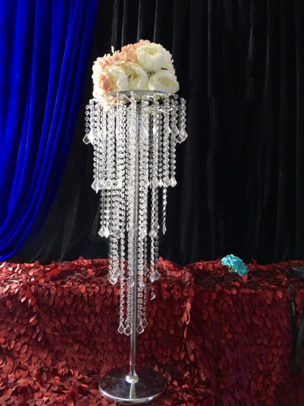 Wh wholesale vintage lead crystal table lamp buy cheap - 80cm Tall Table Centerpiece Wedding Decoration Flower Stand Wedding Chandelier Banquet Supply China Mainland