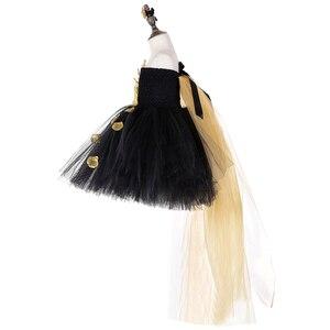 Image 5 - Vestido de tutú de pétalos de flores doradas negras para niñas tutú de tul para desfile de noche, vestido de boda para niñas, vestido de fiesta de cumpleaños