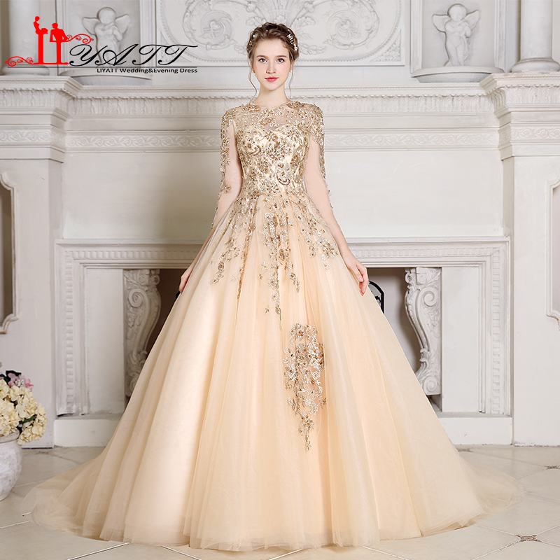 Liyatt Vintage Champagne Long Prom Dresses 2018 Gold Lace Beaded Long  Sleeves Sweep Train Tulle Formal Evening Dress Custom Made e6f41cc08675