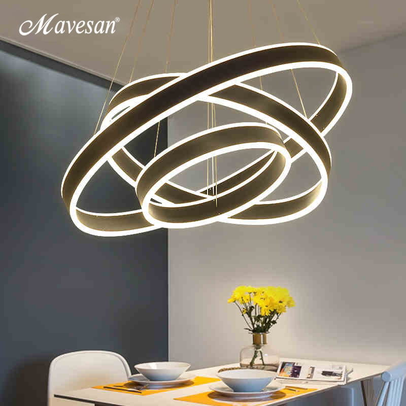 Modern Led Pendant Lamps for dinning Room Acrylic round circle hanging lamp 85-265V led dining room kitchen light drop
