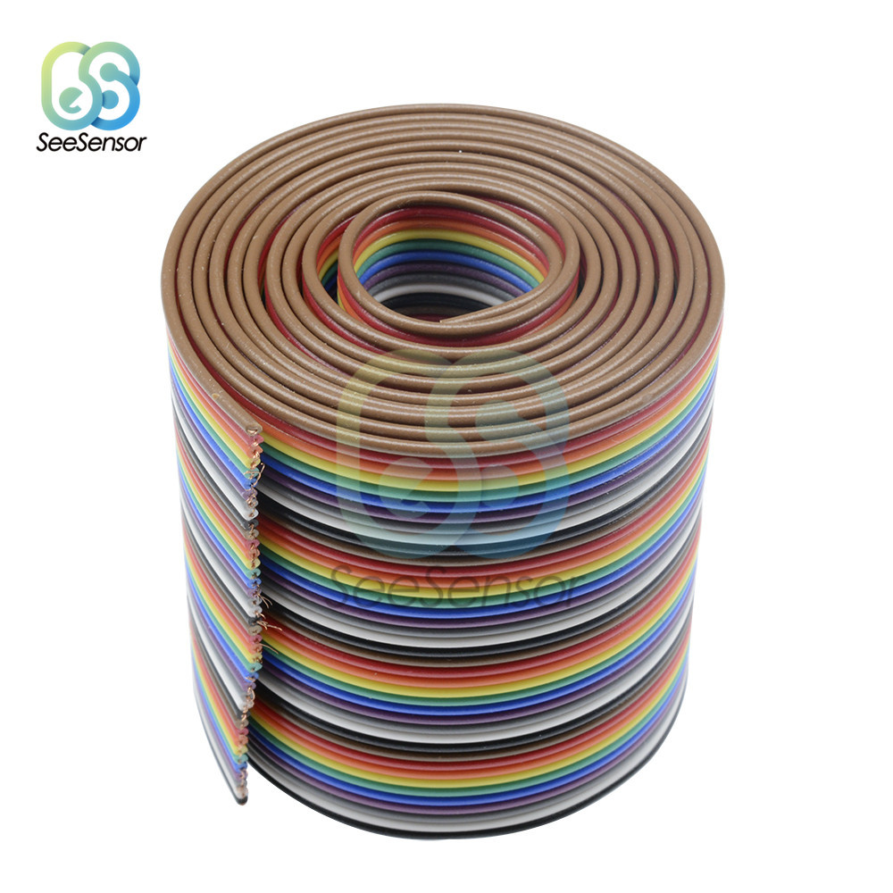 <font><b>40</b></font> <font><b>Pin</b></font> Rainbow Ribbon IDC <font><b>Cable</b></font> Wire 1m 3.3ft Rainbow <font><b>Cable</b></font> <font><b>Flat</b></font> <font><b>Cable</b></font> for Arduino DIY Electronic Kits image