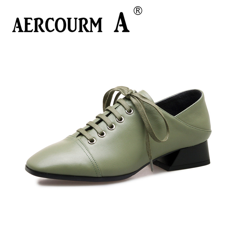 Aercourm A 2018 Woman Brand Cowhide Black Shoes Spring Pumps Low Heels Shoes Square Toe Lacing Genuine Leather Shoes DTN&7715 aercourm a women black pumps 2018 spring high heels shoes woman shoes genuine leather square head rivet pointed shoes dtn8 1